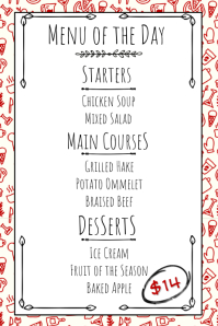 Hand Drawn Restaurant Printable Menu Template