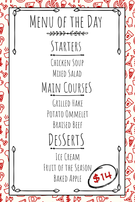 picture relating to Printable Menu titled Hand Drawn Cafe Printable Menu Template PosterMyWall