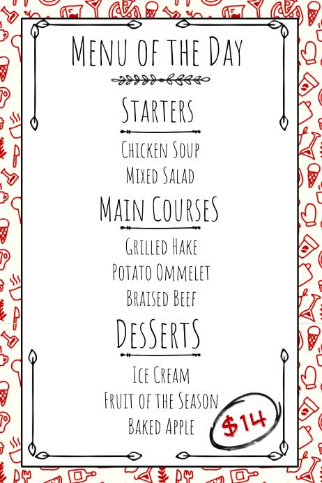 Hand Drawn Restaurant Printable Menu Template