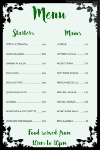 Simple Menu Poster Template