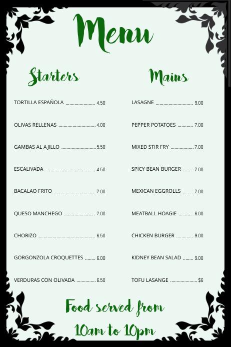 Simple Menu Poster Template PosterMyWall - Basic menu template