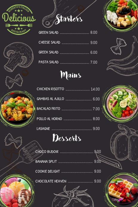 simple menu template postermywall