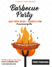 simple minimal barbecue party flyer design te