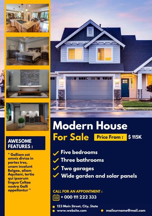 simple modern open house flyer modern house f A4 template