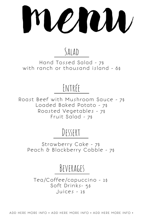 image about Printable Menu Template titled Very simple printable black and white menu template PosterMyWall