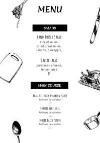 Simple printable menu template A4