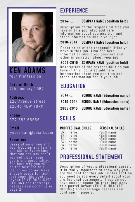 simple professional resume  cv poster flyer template blue