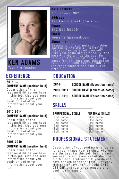 Simple Professional Resume/CV poster flyer template blue