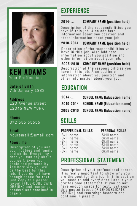 copy of simple professional resume  cv poster flyer