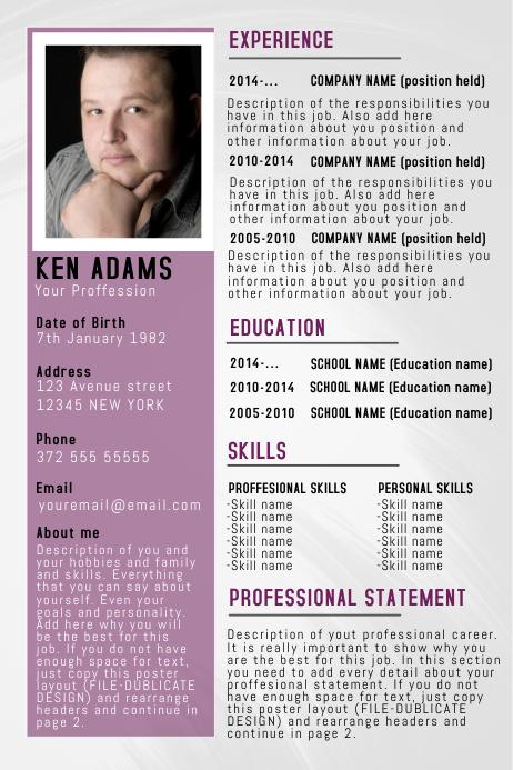 simple professional resume  cv poster flyer template purple