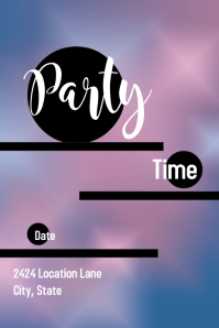 Simple Purple Party Announcement Poster
