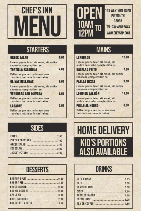 Simple Restaurant Menu Template Plakat