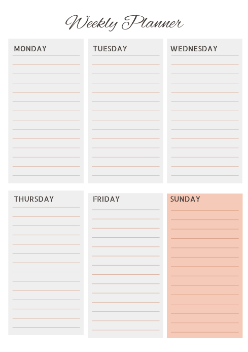 simple text schedule weekly planner template