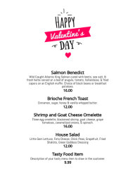 Simple valentines day dinner menu template