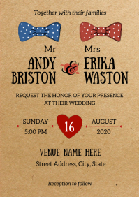 Simple Vintage Style Wedding Invitation