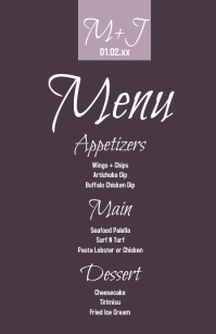 Simple Wedding Logo Table Menu Mezza pagina Wide template