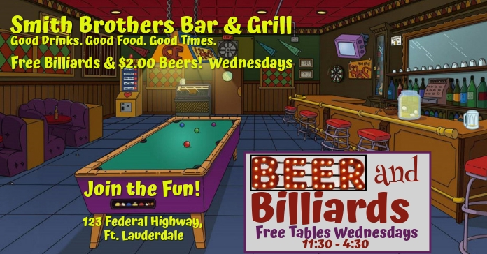 Simpsons Beer & Billiards Special Facebook Advertensie template