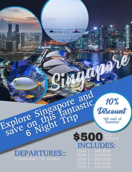 Singapore Travel Flyer VIDEO Template Løbeseddel (US Letter)