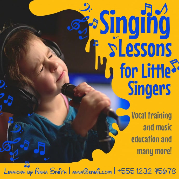 Singing Lessons for Kids Instagram Video Template Wpis na Instagrama