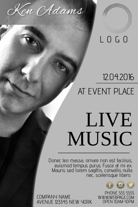 single singer artist music band concert event flyer template black and white