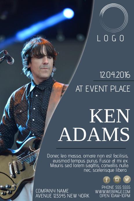 single singer artist music band concert event flyer template blue