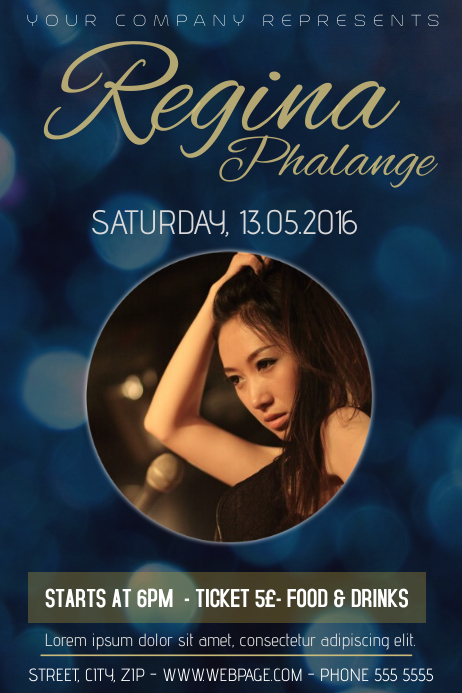 single singer band conceert flyer template bokeh gold | PosterMyWall