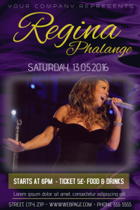 single singer or band concert flyer template purple yellow