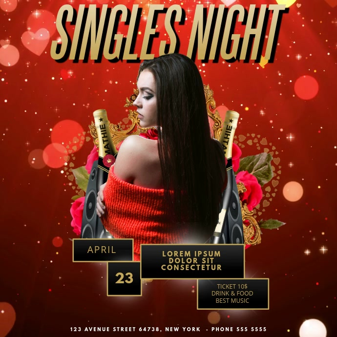 Singles Night Party Video Advertising template for instagram สี่เหลี่ยมจัตุรัส (1:1)