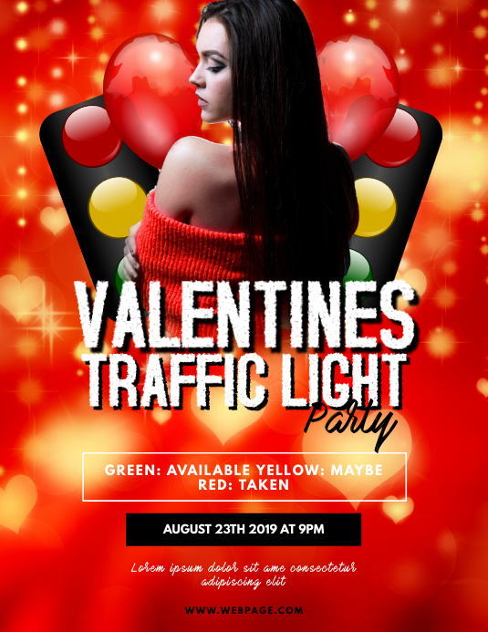 Singles Valentines Traffic Light Party Flyer Folheto (US Letter) template
