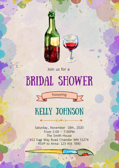 Sip and paint bridal shower invitation A6 template