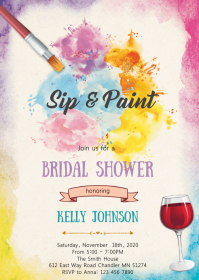 Sip and paint bridal shower invitation