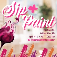 Sip and Paint Flyer Message Instagram template