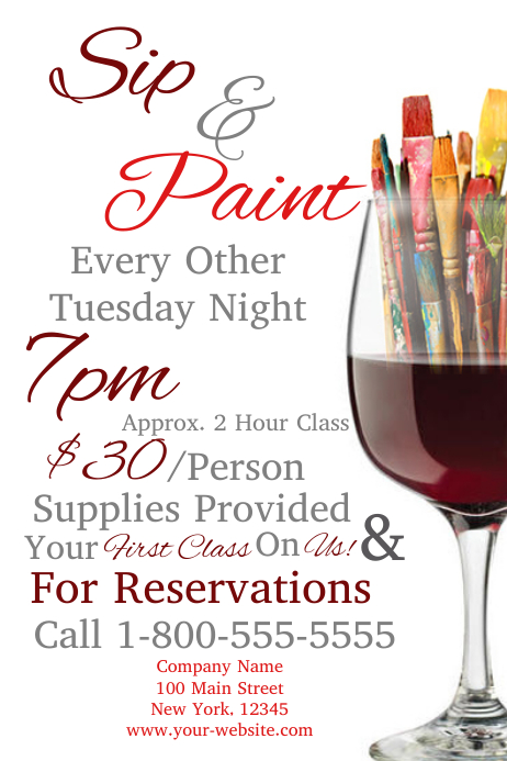 Sip and paint template postermywall for Paint night home parties