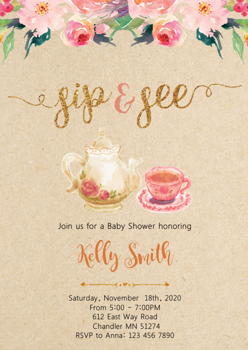 Sip and see tea shower party invitation