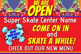 Skate Center Business We Are Open Banner Cartel de 4 × 6 pulg. template