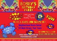 Skate Superhero Theme Party Invitation Kartu Pos template