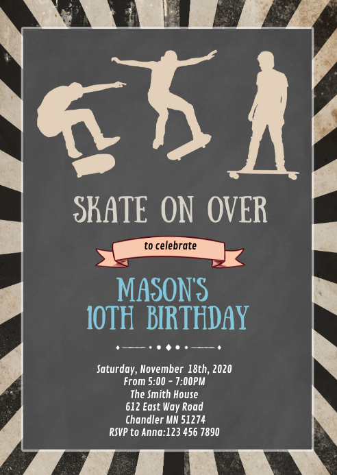 Skateboard birthday party invitation A6 template