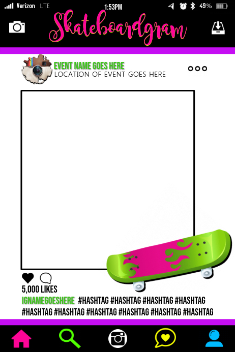 skateboard party prop frame template postermywall