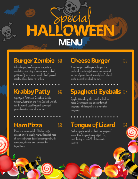Skeleton Flyer Halloween Menu