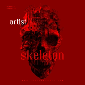 Skeleton Red Skull Mixtape CD Cover Template