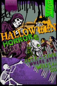 Skeleton Skull Halloween Bar Music Retro Comic Horror Costum