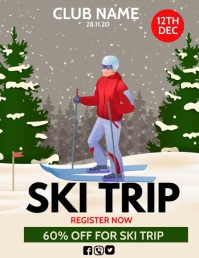 Ski trip, winter camp ใบปลิว (US Letter) template