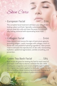skin care facial menu poster
