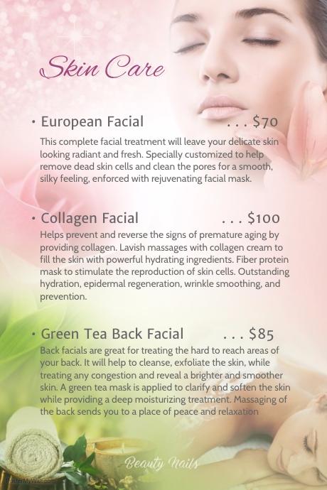 skin care facial menu poster