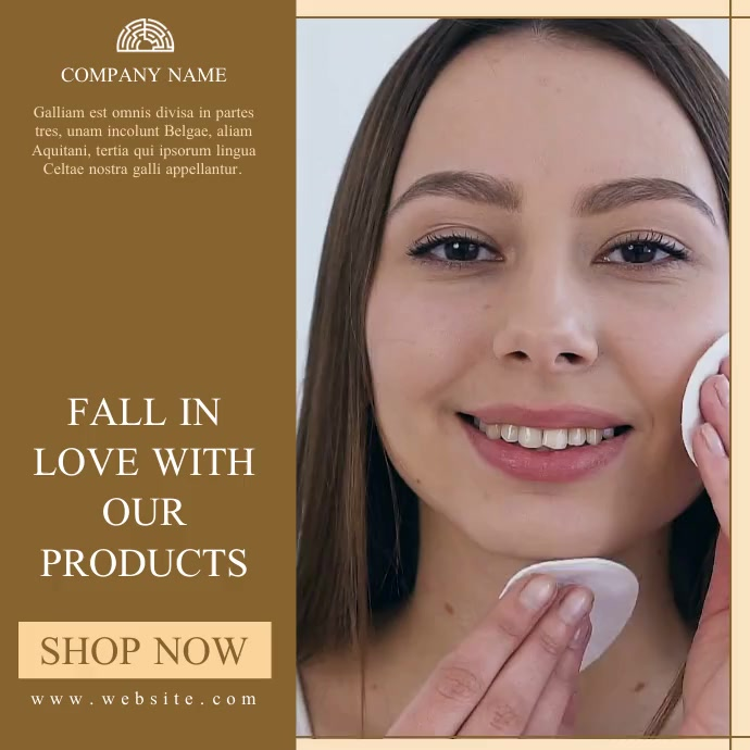 skin care products advertising gold and light Message Instagram template