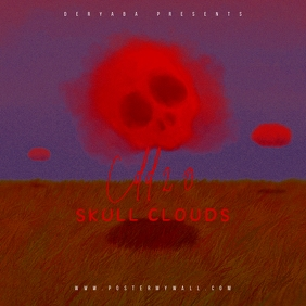 Skull Clouds Red CD Cover Template