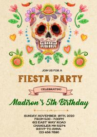 Skull fiesta birthday party invitation