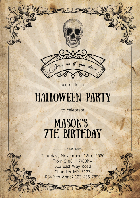 skull Halloween birthday party invitation A6 template