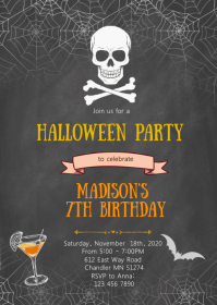 Skull halloween birthday party invitation