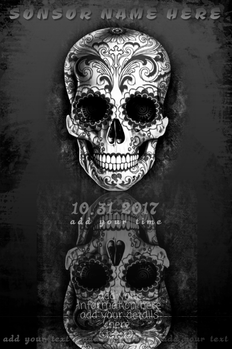 Skull Halloween Dead Tattoo Metal Muertos Sugar Rock Band Cartaz template